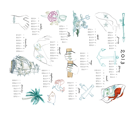 2013 nautical tattoo calender fabric by bowsprite on Spoonflower - custom fabric