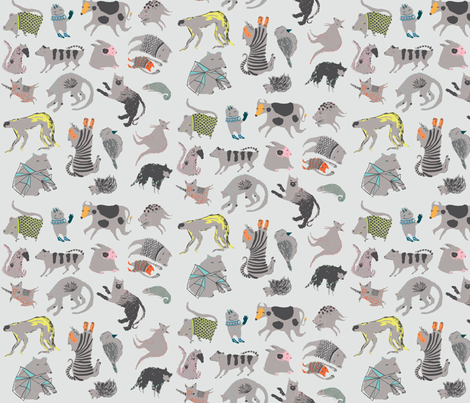 Strange Beasts on Grey fabric by benconservato on Spoonflower - custom fabric