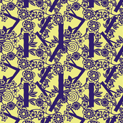 Chinese paper cutting purple, yellow