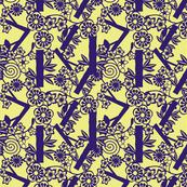Chinese paper cutting purple, yellow