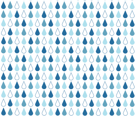 Raindrops in blue on white fabric by little_fish on Spoonflower - custom fabric