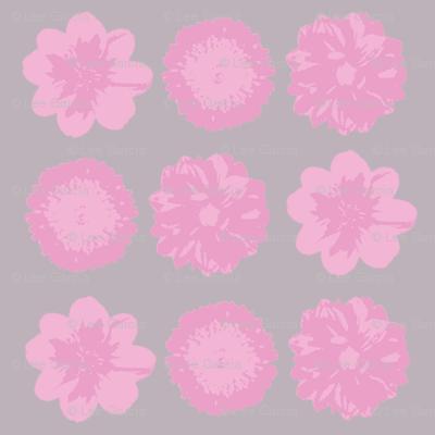 Pink flower on grey back drop