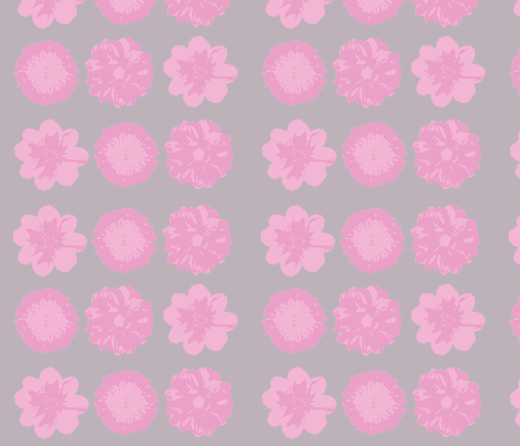 Pink flower on grey back drop fabric by heaven-lee on Spoonflower - custom fabric