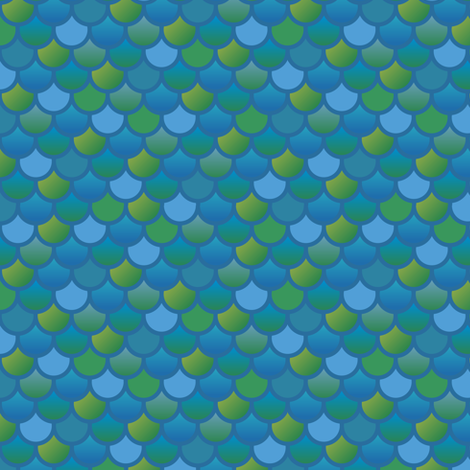 Mermaid fish scales in blue and green fabric by little_fish on Spoonflower - custom fabric