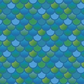Mermaid fish scales in blue and green