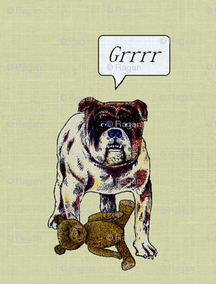 Bulldog with Teddy Bear