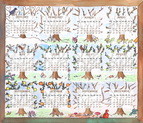 Apple tree 2013 calendar fabric by zandloopster on Spoonflower - custom fabric