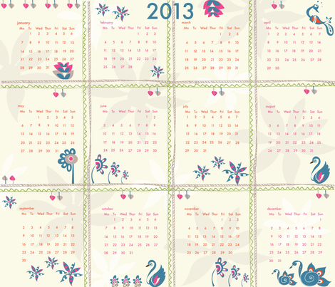 Spoonflower-2013-calender fabric by designkae on Spoonflower - custom fabric