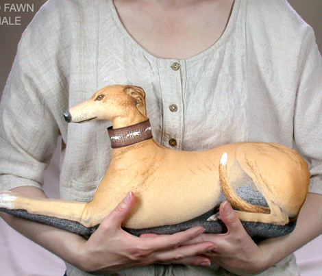 Greyhound Pillow Panel - Red Fawn Female