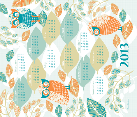 Laughing_Owls_2013_Calendar fabric by niceandfancy on Spoonflower - custom fabric
