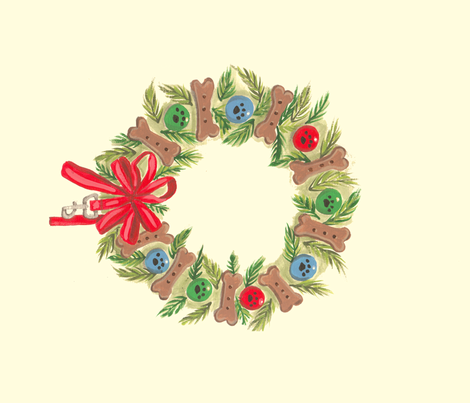 Xmas wreath Dog themed wreath 4 wreaths per yard  fabric by bonz_fabric_ on Spoonflower - custom fabric