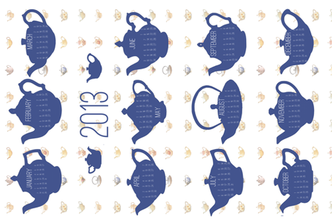 teapot calendar 2013 fabric by karinka on Spoonflower - custom fabric