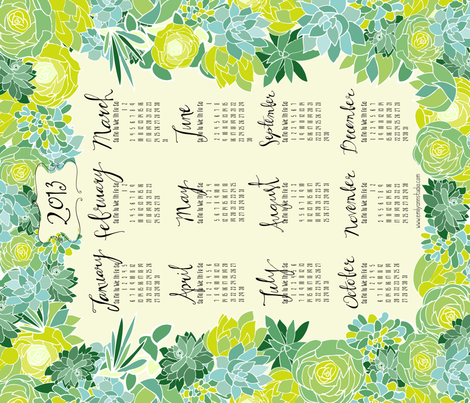 Succulent 2013 Tea Towel Calendar fabric by emilyannstudio on Spoonflower - custom fabric