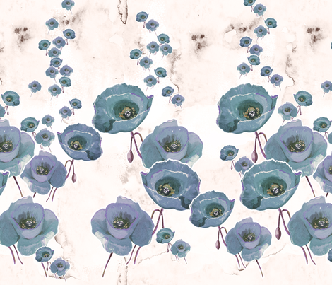 Silver Poppies fabric by milenagaytandzhieva on Spoonflower - custom fabric