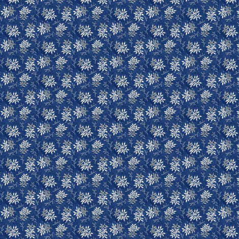 Indigo with gray & white leaves fabric by the_cornish_crone on Spoonflower - custom fabric