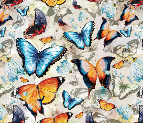 Watercolor Butterflies fabric by milenagaytandzhieva on Spoonflower - custom fabric