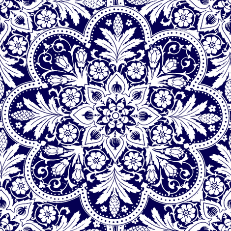 Bombay White & Blue fabric by peacoquettedesigns on Spoonflower - custom fabric