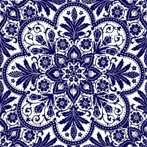 Bourgogne Tile ~ Admiral White & Blue