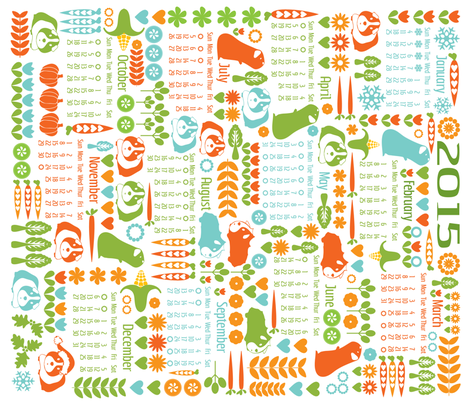 Guinea Pigs for All Seasons - Calendar 2015 fabric by ebygomm on Spoonflower - custom fabric