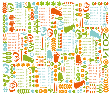 Guinea Pigs for All Seasons - Calendar 2014 fabric by ebygomm on Spoonflower - custom fabric