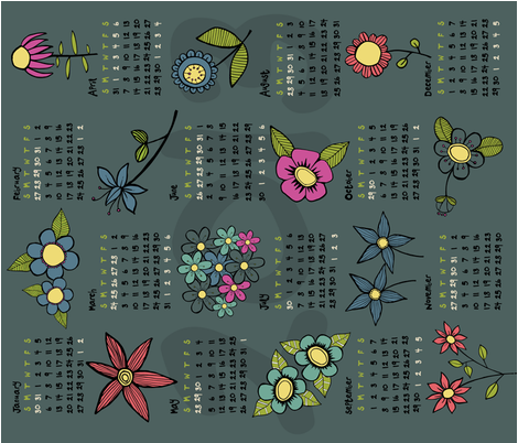 2013 Flowery calendar tea towel fabric by doris&fred on Spoonflower - custom fabric