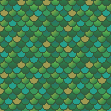 Mermaid fish scales in green and yellow