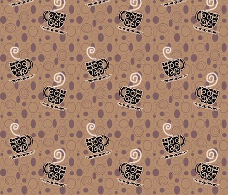 Coffee Shop Mugs & Swirls fabric by arttreedesigns on Spoonflower - custom fabric