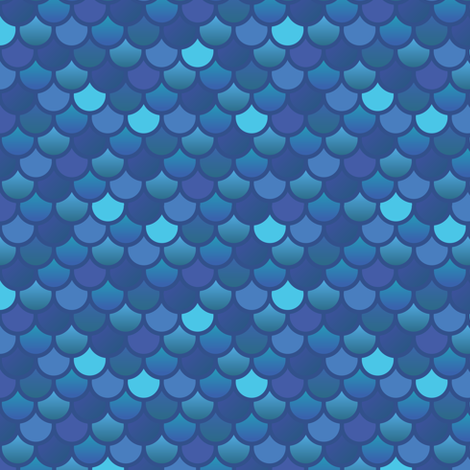 mermaid fish scales in blues fabric little fish