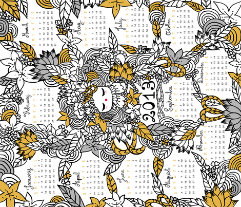 Kokeshina 2013 fabric by made_in_shina on Spoonflower - custom fabric