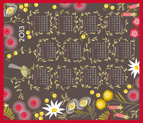 2013 wildflowers calendar fabric by cjldesigns on Spoonflower - custom fabric