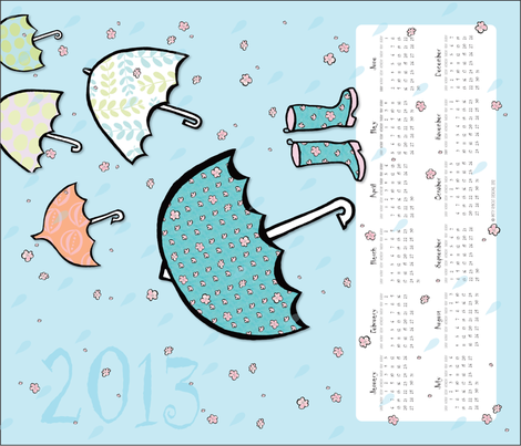 Umbrellas  and Cherry Blossoms!! (2013 Calendar Tea Towel) fabric by pattyryboltdesigns on Spoonflower - custom fabric