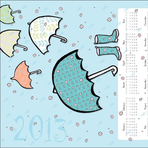 Umbrellas  and Cherry Blossoms!! (2013 Calendar Tea Towel)