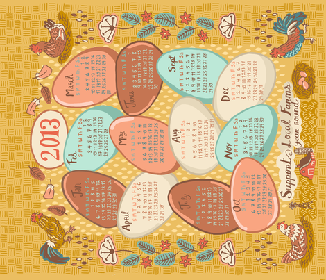 2013 Farm Fresh Calendar fabric by emuattacks on Spoonflower - custom fabric