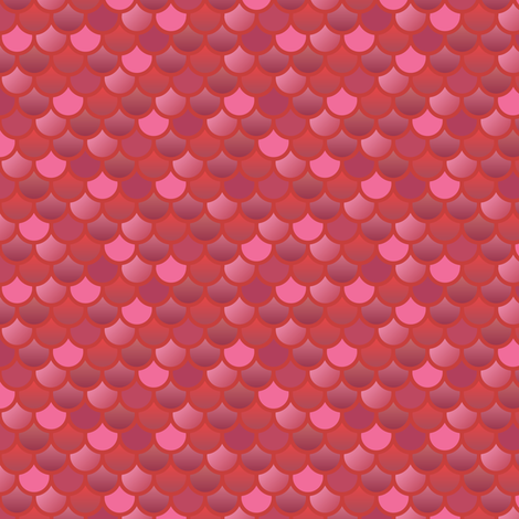 Mermaid fish scales in red and pink