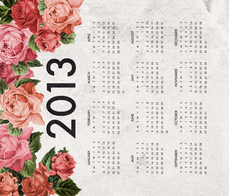 Modern Roses 2013 Tea Towel Calendar fabric by sarahstearns on Spoonflower - custom fabric