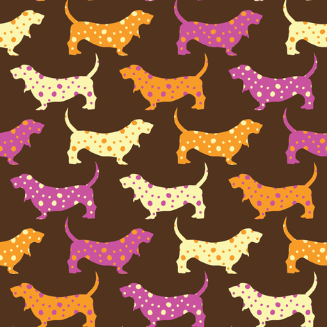 Samba Bassets (Dark) fabric by robyriker on Spoonflower - custom fabric