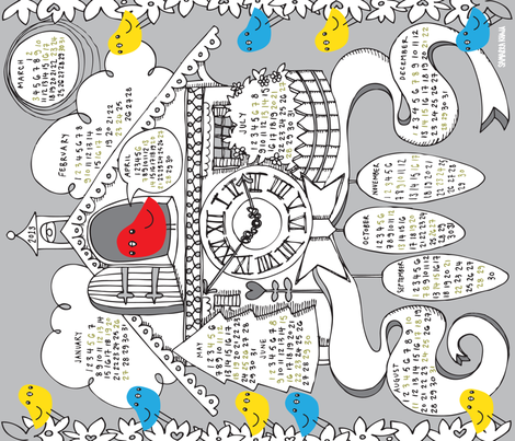 Cuckoo for 2013 fabric by sammyk on Spoonflower - custom fabric