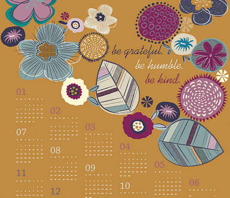 Kind thoughts tea towel calendar 2013