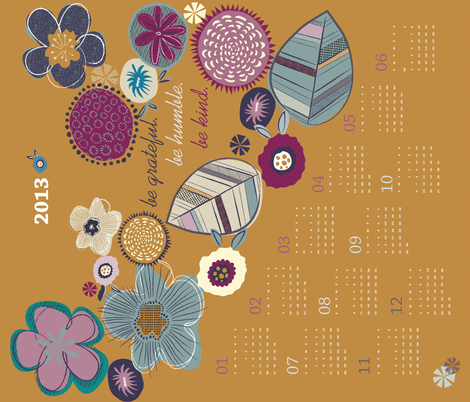 Kind thoughts tea towel calendar 2013 fabric by licoricelove on Spoonflower - custom fabric