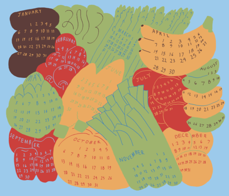 A Year of Fresh Produce - Eat In Season! fabric by mongiesama on Spoonflower - custom fabric
