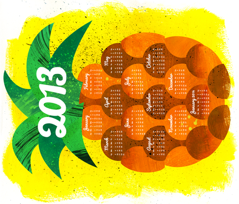 2013 Pineapple Tea Towel Calendar fabric by aldea on Spoonflower - custom fabric