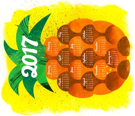 2017 Pineapple Tea Towel Calendar fabric by aldea on Spoonflower - custom fabric