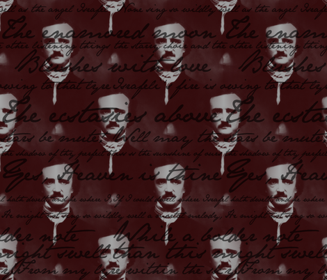Edgar Allan Poe ~ Israfel ~ Poem on Portrait fabric by peacoquettedesigns on Spoonflower - custom fabric
