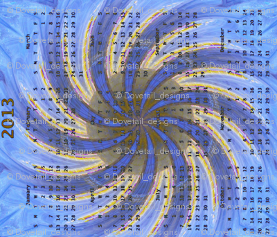 2013 Calendar - Durfort, France -  Cathedral Windows Swirl 2
