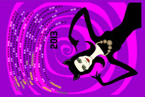 A purrfect 2013: catwoman tea towel calendar (purple) fabric by bippidiiboppidii on Spoonflower - custom fabric