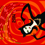 A purrfect 2014: catwoman tea towel calendar (red)