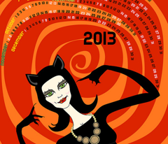 A purrfect 2013: catwoman tea towel calendar (red)