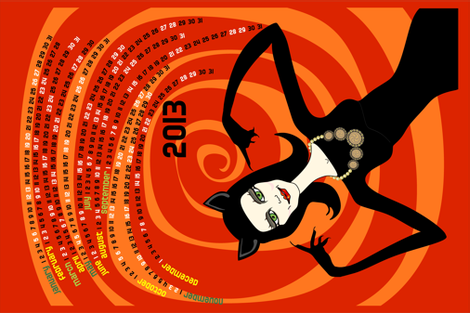 A purrfect 2013: catwoman tea towel calendar (red) fabric by bippidiiboppidii on Spoonflower - custom fabric