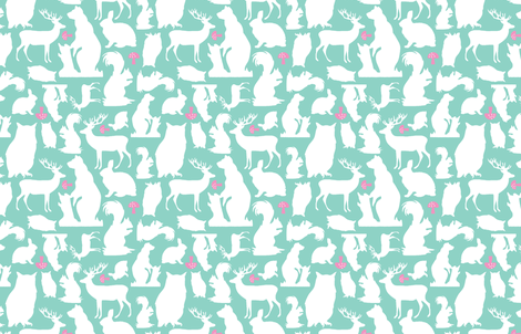 Woodland Animals Small Mint fabric by emma_smith on Spoonflower - custom fabric
