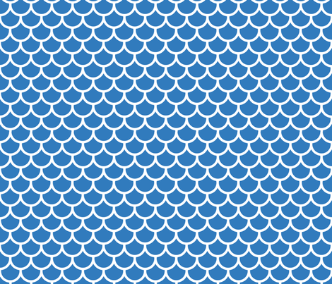 Feather Scales in Blue and White fabric by little_fish on Spoonflower - custom fabric